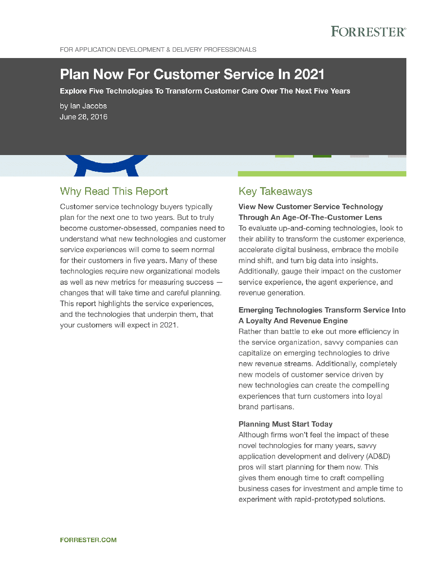 Plan Now for Customer Service in 2021